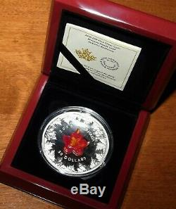 2016 Murano's Glass 5 oz Pure SILVER $50 Coin Autumn Radiance Canada Maple Leaf