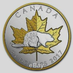 2017 Canada $25 dollars silver coin Beaver Maple leaf Timeless Icons Piedfort