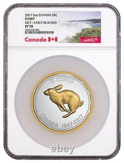 2017 Canada Big Coin Alex Colville Rabbit 5 oz Silver Gilt NGC PF70 ER