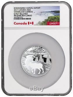 2017 Canada Endangered Animal Cutout Caribou Silver $30 NGC PF69 UC ER SKU46104