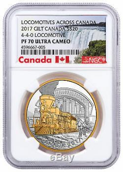 2017 Canada Locomotives 4-4-0 1 oz Silver Gilt PF $20 Coin NGC PF70 UC SKU49011