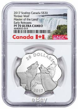 2017 Canada Master Land Timber Wolf Scalloped Silver $20 NGC PF70 UC ER SKU51581