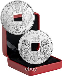 2017 Feng Shui Good Luck Charms PI YAO $8 Pure Silver Proof Square-Holed Coin