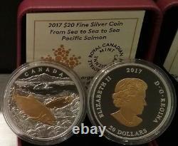 2017 Pacific Salmon From Sea To Sea To Sea $20 1OZ Pure Silver Proof Coin Canada