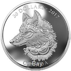 2017 Zentangle Art Great Grey Wolf $30 2OZ Pure Silver Proof Coin Canada