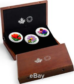 2018 3Coins Set Murano Best 3 $50 5OZ Silver Proof Canada Bee Butterfly Ladybug