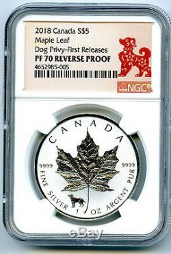 2018 $5 Canada 1 Oz Silver Maple Leaf Dog Privy Ngc Pf70 Fr Reverse Proof