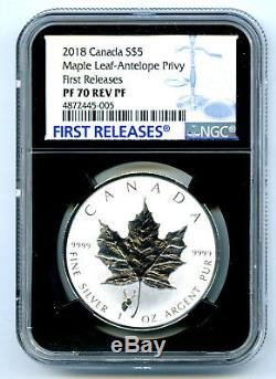 2018 $5 Canada Silver Maple Leaf Ngc Pf70 Antelope Privy Rev Proof Fr Pop 5