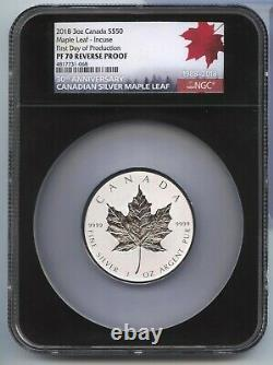 2018 Canada $50 Maple Leaf 3 oz Silver NGC PF70 First Day OGP Rev Proof MA987