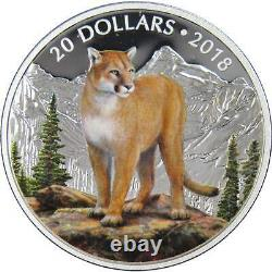 2018 Canadian Majestic Wildlife Courageous Cougar 1 oz. 9999 Silver Proof Coin