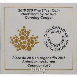 2018 Canadian Nocturnal by Nature Cunning Cougar 1 oz. 9999 Silver Proof Coin