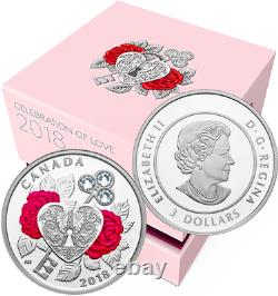2018 Celebration Love $3 Pure Silver Proof Coin Canada Heart Key Crystals
