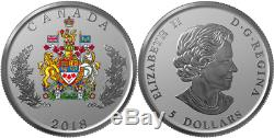 2018 Coat of Arms Heraldic Emblem $5 1/2OZ Pure Silver Proof Canada Coin