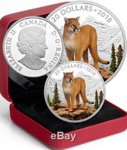 2018 Courageous Cougar $20 1OZ Pure Silver Proof Coin Canada Majestic Wildlife
