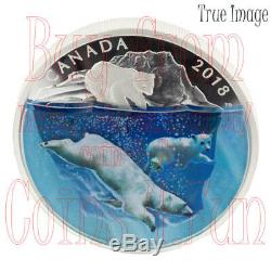 2018 Dimensional Nature Polar Bears $30 2 OZ Pure Silver Proof Coin Canada