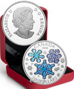 2018 Ice Crystals $20 1OZ Pure Silver Proof Coin Canada Blue Sparkle Enamel