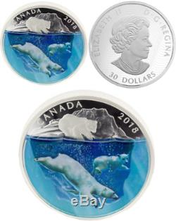 2018 Polar Bears Dimensional Nature $30 2oz Pure Silver Proof Canada Coin