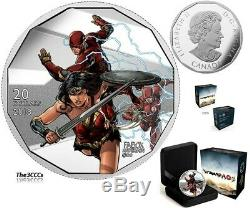 2018 Wonder Woman & Flash $20 1OZ Pure Silver Proof Coin Canada Justice League