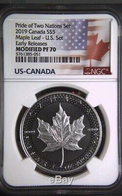 2019 $5 Canadian Silver Maple Leaf NGC Modified PF70 Pride of Two Nations ER