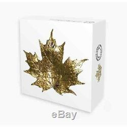 2019 Canada $15.999 3/4 Oz 3D Golden Maple Leaf Proof Finish Silver Coin