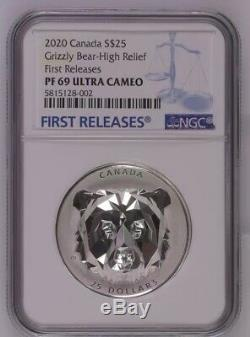 2019 Canada 1oz Multifaceted Animal Head Grizzly Bear Silver Proof Coin NGC PF69