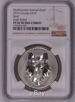 2019 Canada 1oz Multifaceted Animal Head Wolf Silver Proof Coin NGC PF69