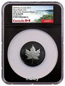 2019 Canada 2 oz Silver Maple Leaf Rhodium Plated $10 NGC PF70 Matte SKU56946