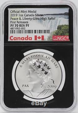 2019 Canada Peace & Liberty 1 Oz Silver Medal NGC PF70 FR Reverse Proof JB490