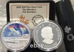2019 Fire Rainbow Sky Wonders $20 1OZ Pure Silver Proof Coin Canada Glow-in-Dark