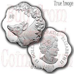 2019 Lunar Lotus Year of the Pig $15 Pure Silver Proof Coin Canada