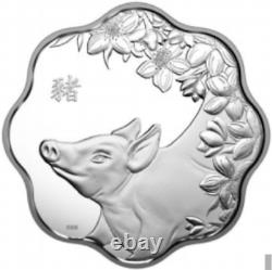 2019 Pig Lunar Lotus Year of the Pig $15 Pure Silver Proof Canada Coin