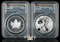 2019 Pride Of Two Nations Canada Set Pcgs Rev Pr70 2-coin Set Canada Set 2