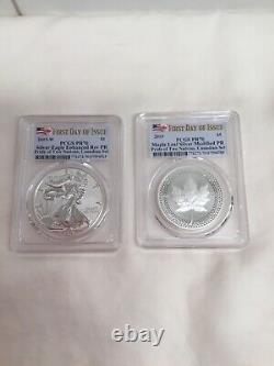 2019 Pride Of Two Nations Canada Set Pcgs Rev Pr70 Fdoi 2-coin Set
