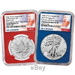 2019 RCM Pride of Two Nations 2pc. Set NGC PF70 FDI Flags Label Red Blue Canada