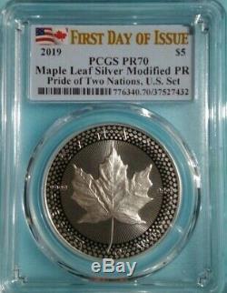 2019 Silver Maple Leaf Modified Proof PCGS PR70 FDOI Pride of Two Nations Canada