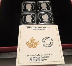 2019 The Elements Quartet Set Pure Silver 4x$3 Proof Canada Coins, Mintage 2000
