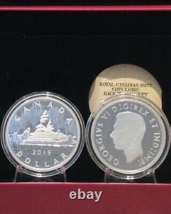 2019 Two 2OZ Coins Silver Proof RCM Lore Caribou 25-cent, Voyageur $1 Dollar