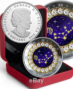 2019 Virgo Zodiac $5 1/4OZ Pure Silver Proof Canada 27mm Coin with Crystal