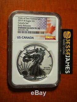 2019 W Enhanced Reverse Proof Silver Eagle Ngc Pf70 Er From Canada Pride Set Rcm