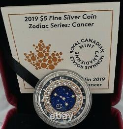 2019 Zodiac Cancer $5 1/4OZ Pure Silver Proof Canada 27mm Coin with Crystal