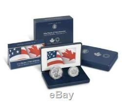 2019-w Rev. Proof Silver Eagle & 2019 Canada Maple Leaf Pride Of Two Nations Set