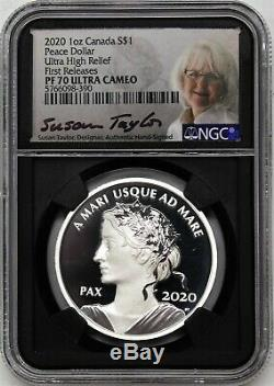 2020 $1 Silver Canada Peace Dollar Ultra High Relief NGC PF70 UC First Releases