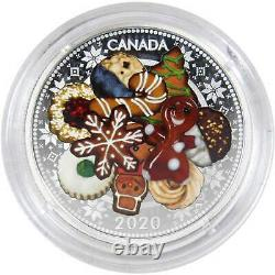 2020 $20 Canadian Murano Holiday Cookies 31.39 g. 9999 Silver Coin Proof COA