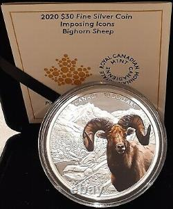 2020 Bighorn Sheep $30 2OZ Pure Silver Proof Coin Canada Imposing Icon