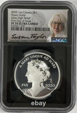 2020 CANADA First Day of Issue Peace Dollar Ultra High Relief Silver NGC PF70