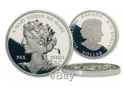 2020 CANADA PEACE DOLLAR PAX 1oz. 9999 SILVER GEM PROOF UHRFIRST YEAR OMP/COA
