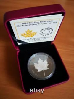 2020 Canada $20 1-oz Silver Maple Leaf Incuse Black Rhodium Proof with Box and CoA