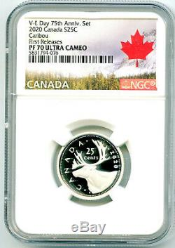 2020 Canada 25 Cent. 9999 Silver Proof Quarter Ngc Pf70 Ucam First Releases