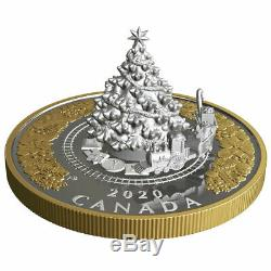 2020 Canada $50 3D Christmas Tree with Moving Train 5 oz Silver Proof Coin