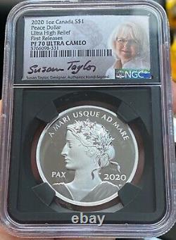 2020 Canada Peace Dollar Ultra High Relief NGC PF 70 Ultra Cameo 1 Oz Silver